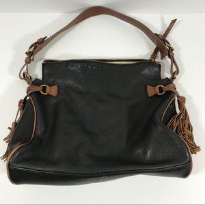 Margot black leather shoulder bag tan tassels